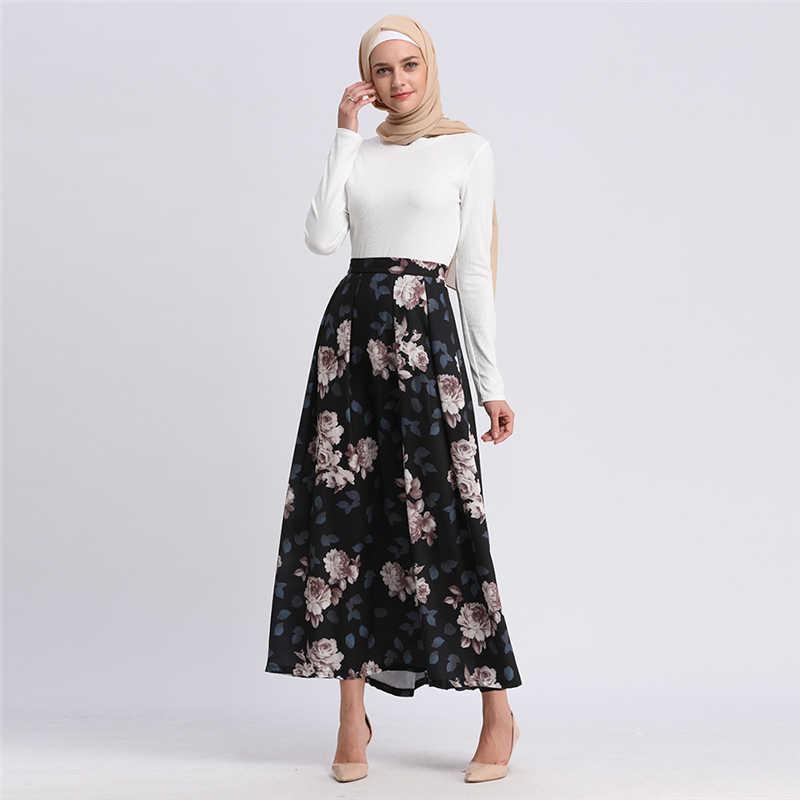 f3eb83c7d601 ... Modest Turkish Skirts Islamic Clothing Bohemian Flower Printed Long  Muslim Skirts Turkey Women Clothes Islam Pleated ...