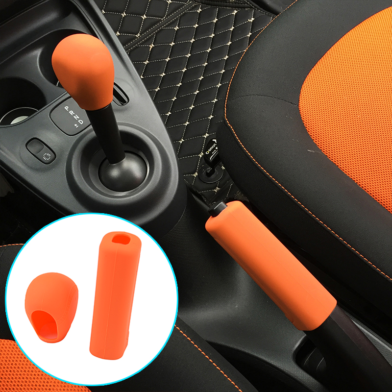 Silicone Car Gear Shift Knob Cover Case Fit For Benz Smart Fortwo 2015-2017 Auto