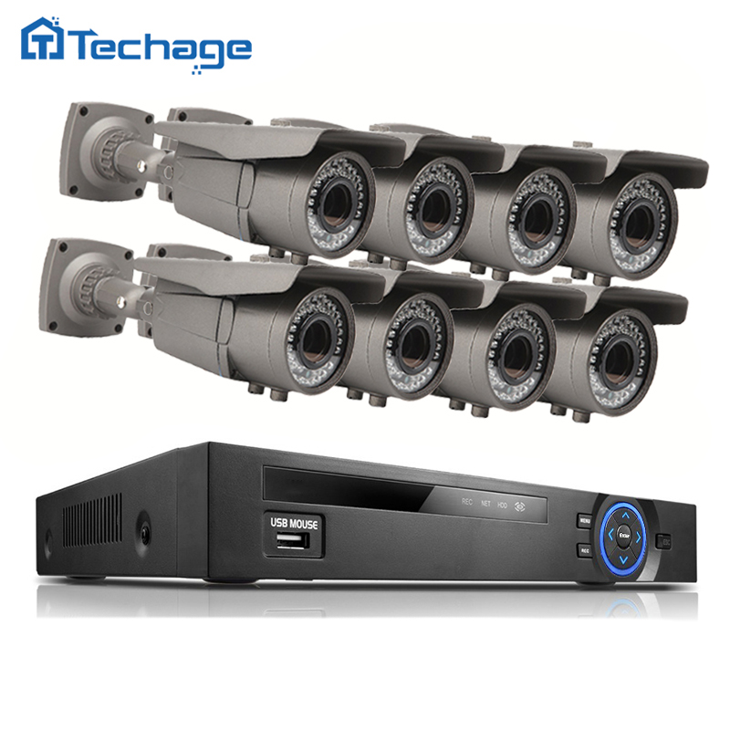 8CH 1080P 48V POE NVR CCTV System 8PCS 3000TVL 2.0MP 2.8-12mm Varifocal Zoom Lens P2P IP Camera Outdoor Video Home Security Kit
