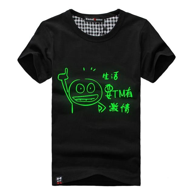 2013 luminous male t-shirt 100% cotton o-neck short-sleeve men's clothing passion male t-shirt luminous