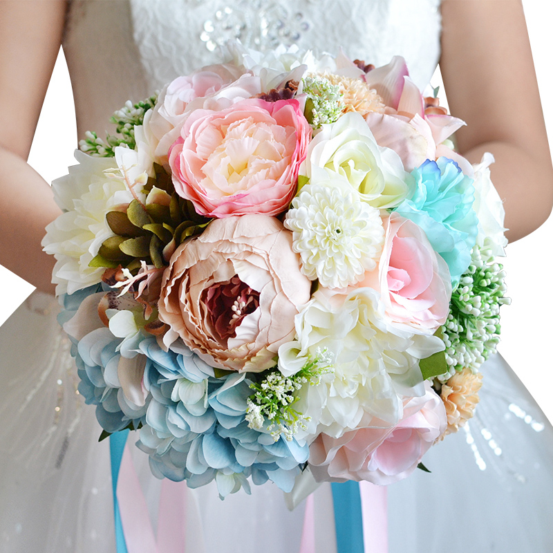 Vintage Artificial Peonies Rose Bridal Bouquet Ribbon buque noiva ...