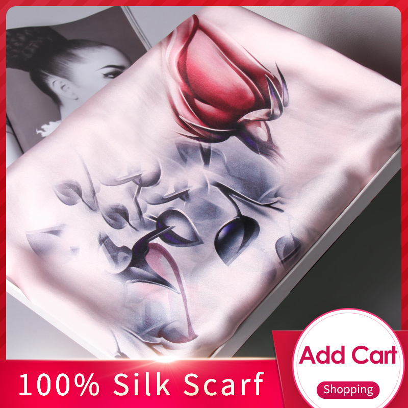 Ladies 100% Pure Silk Scarf Luxury Brand 2019 Shawls and Wraps for Women's Print Muffler Wrap Long Natural Real Silk Scarves