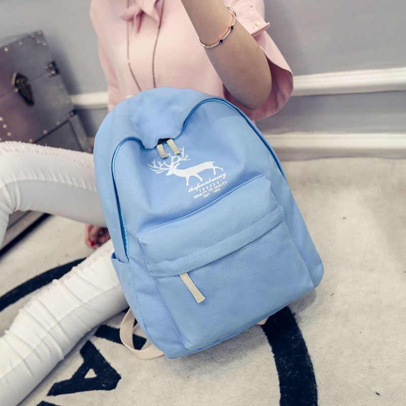 2b493468631b Мода холст рюкзак элегантный дизайн для мальчиков Обувь для девочек Олень  школьная сумка Горячие 2016 Новинка