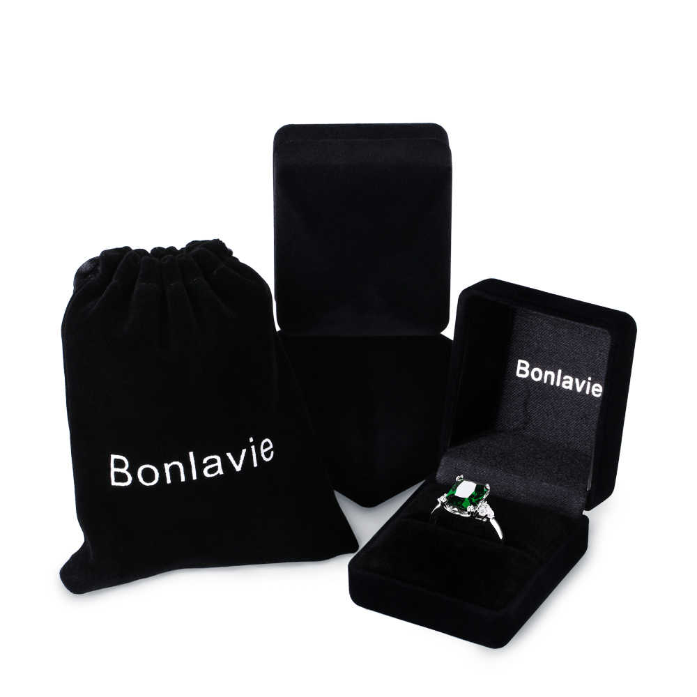 BONLAVIE เครื่องประดับ Silver 925 Nano รัสเซียมรกตสแควร์แหวนขนาด 6 7 8 9 ผู้หญิงหญิงแหวนของขวัญ