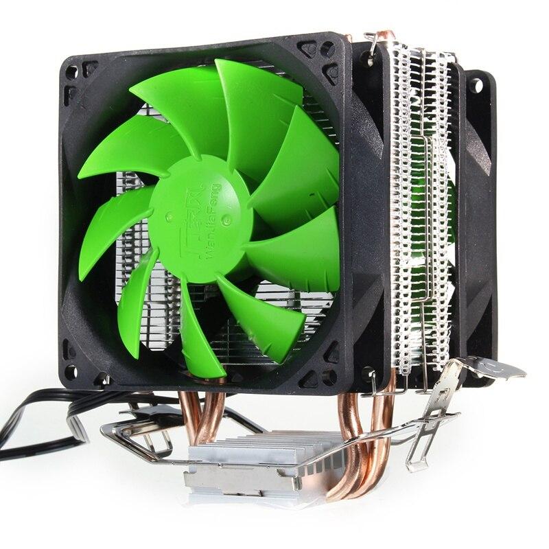 Double Ventilateur Hydraulique CPU Refroidisseur Ventilateurs De Refroidissement Heatpipe Radiateur Radiateur pour Intel LGA 775/1156/1155 pour AMD AM2 AM2 + AM3