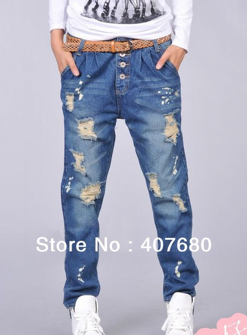 ФОТО Big discount Womens fashion casual loose hole ripped painted vintage Harem jeans drop crotch Baggy pants