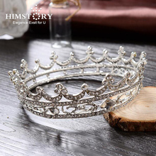HIMSTORY  Elegant Full Round Circle  Rhinestone Bride Hair Accessory Crown Tiara Wedding Jewelry Bridal Accessories