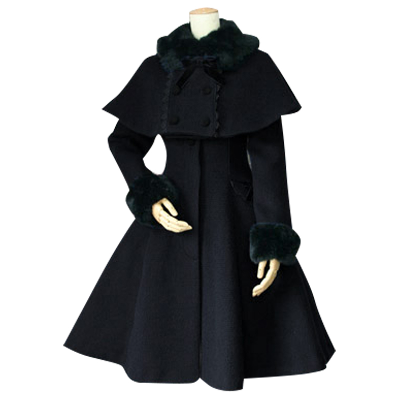 Custom Tailored Women's Winter Coat Retro Style Female Wool Two Piece Long Coat with Poncho