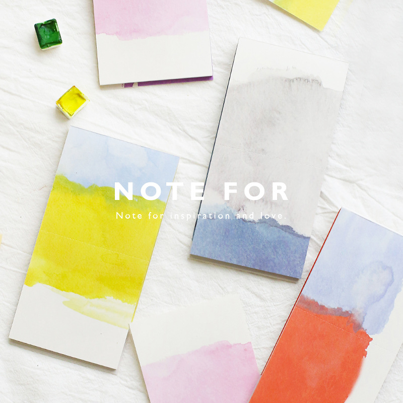 Note For Watercolor Cool Design Notepad 8*15.7cm 30 Sheets Blank Paper Notes 12pcs/lot