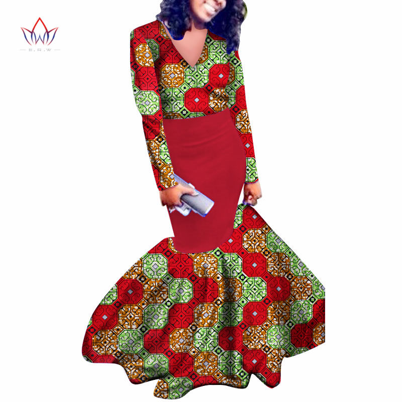 Africain bazin riche robes pour femmes 2017 été manches longues col en v conception naturelle de mariage étage longueur robe grande taille WY485