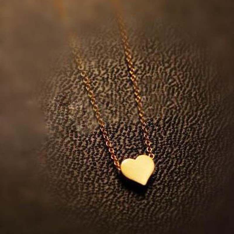 1 pc Romantic Ladies Simple Design Chic Gold Color Chain Heart ...