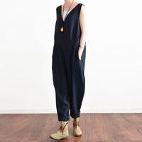 zanzea лето для женщин без рукавов с с V-образным вырезом полосатый комбинезон длинные штаны-шаровары моно повседневное свободные боди combinaison роковой