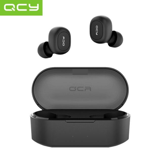 QCY QS2 Bluetooth TWS V5.0 zestaw słuchawkowy sportowe słuchawki bezprzewodowe 3D słuchawki stereo Mini w ucho podwójny mikrofon z okno ładowania