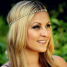 Женская повязка для волос с искусственным жемчугом и бусинами