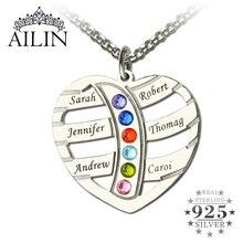 Silver Birthstone Nombre Collar Personalizado Collar de Corazón con el Nombre de Los Niños Madre Familia Familia de la Marca Collar de Regalo de Navidad