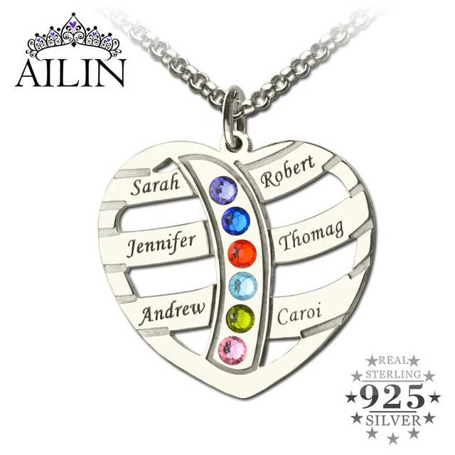 Silver Birthstone Family Name Necklace Heart with Kids Name Mother Necklace Personalized Brand Family Necklace Gift for Mother
