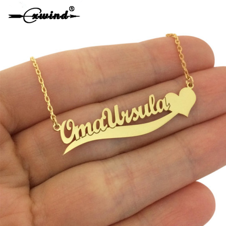 Cxwind Personalized Custom Letters Charm Name with Heart Pendant Necklace Cursive Nameplate Necklaces for Birthday Best Gift