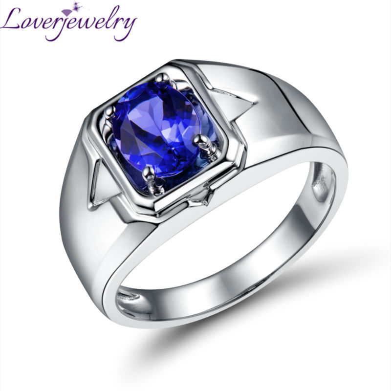 Simple Solid 18Kt White Gold Natural Tanzanite Men Ring Oval 6x8mm for Wedding Jewelry WU0312E one piece simple gold plated fashion alloy rhinestone ring for men