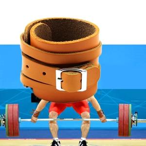 Image 2 - Muñequera de cuero de vaca para levantamiento de pesas, Protector de muñeca para Crossfit, con prensa de barra, pulsera para gimnasio, 1 par