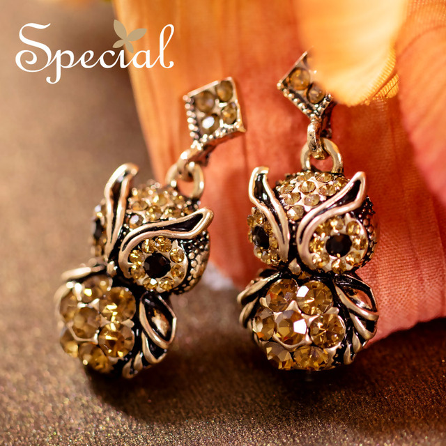 Special New Fashion Drop Earrings Fairy Tale Owl Earrings Rhinestones Statement Jewelry Ear-piercing Gifts for Women S1609E
