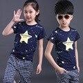 2016 NEW children clothing set blue stars boys set baby regular sets short t shirt+pants 2 pcs set clothes kids suit 2-7 Years