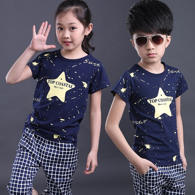 2016 NEW children clothing set blue stars boys set baby regular sets short t shirt+pants 2 pcs set clothes kids suit 2-7 Years