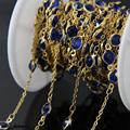 6mm Lapis Blue Glass Faceted Round beads Coin Chains,Glass Flat Connectors beads Link Gold Plated Wire Wrapped Rosary Chain