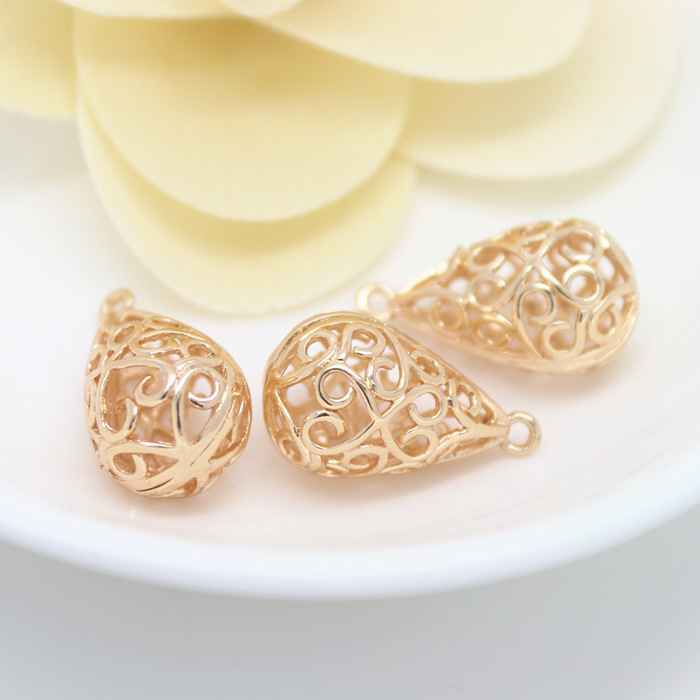 4PCS 12x22MM 24K Champagne Gold Color Plated Brass Tear Drop Shape Charms Pendants High Quality Diy Jewelry Accessories
