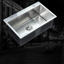 цена на E ITAS9945 Kitchen sink 304 stainless steel brushed single bowl groove above counter or undermount high-capacity
