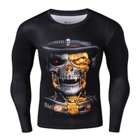 Men Compression Tight Skin Shirt Long Sleeves 3D Prints Skull Lion Muscle Man Fitness Sportswear