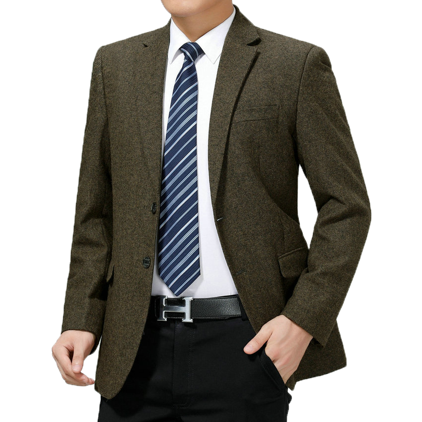 Spring Autumn Man Elagant Blazers Navy Blue Gray Camel Jacket Suit Men Business Casual Blazers Woollen Blends Outfits For Man