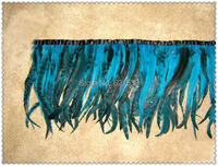 2Meters/lot!35cm Height!Quality Grizzly Iridescent Turquoise/Sky Blue COQUE TAIL FEATHER TRIM Fringe,freeshipping