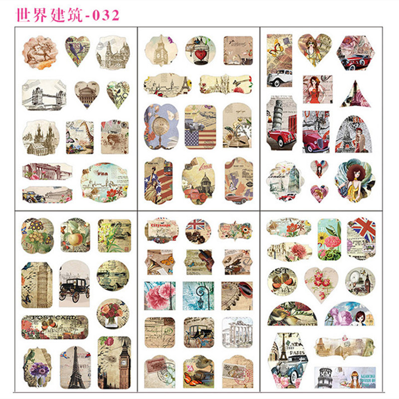 6 Sheets/pack World Of Buildings Decorative Stationery Stickers Scrapbooking Diy Diary Album Stick Label