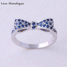 Love Monologue Classical Stackable Minimalist Bow Silver Color Tiny Blue Crystal Cubic Zirconia Paved For Womens Rings J0219