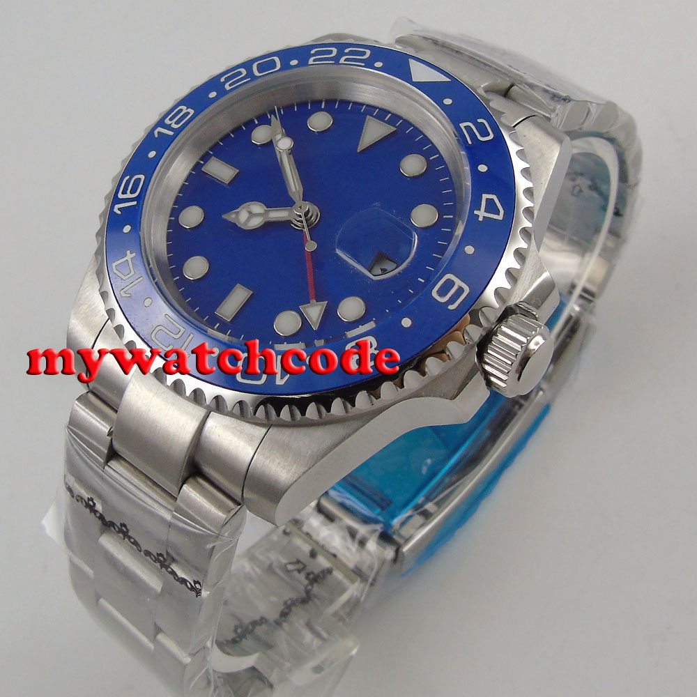 40mm Bliger blue sterile dial blue luminous marks GMT date sapphire glass automatic mens watch B18140mm Bliger blue sterile dial blue luminous marks GMT date sapphire glass automatic mens watch B181