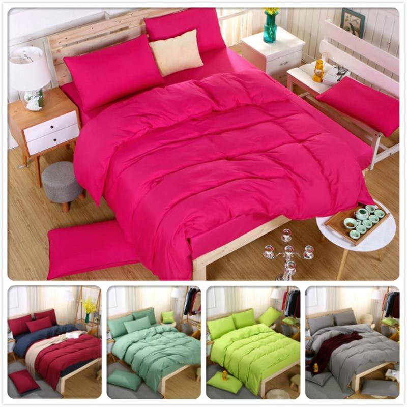 New Style Pure Color Pink Red Purple Bedding Set 4pcs 1.5m 1.8m 2.0m 2.2m Bed Sheet Boy Girl Student School Duvet Cover Bedlinen