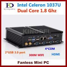 HDMI + VGA 1080 P промышленные прочный мини-ПК Intel Celeron 1037U 4 ГБ Оперативная память 32 ГБ SSD Безвентиляторный Desktop компьютер Windows 7 COM + USB 3.0