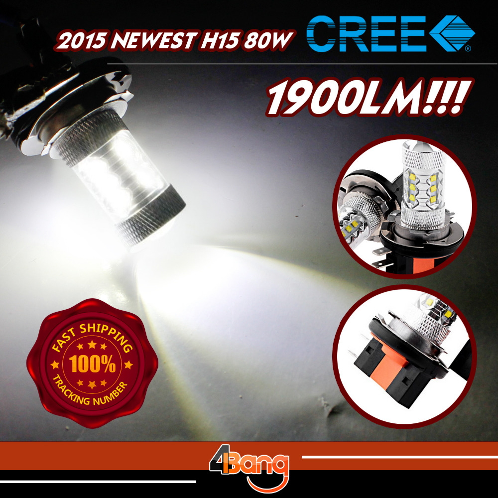 Car Styling 2pcs LED 80W White H16 P13W PY24W PSX26W BA20D H15 Universal Brake Light Turn