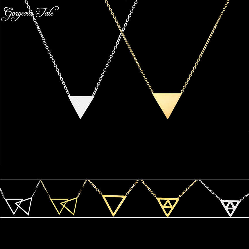 GORGEOUS TALE Geometric Pendant Gold-color Statement Necklace Stainless Steel Chains Collier Triangle Necklace For Women