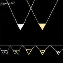 Великолепная сказка геометрический кулон золотой цвет крупное колье цепи из нержавеющей стали колье треугольник ожерелье для женщин