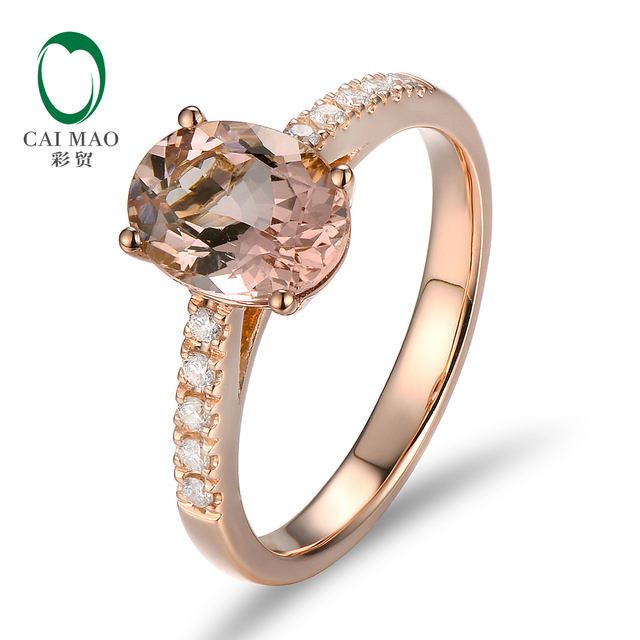 Unplated 18K/Au750 Rose Gold 1.79ct Natural Morganite 0.17ct Diamonds Engagement Ring