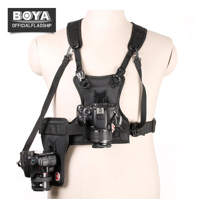 BOYA MQ-MSP01 Carrier II Multi Camera Carrier Photographer Vest with Dual Side Holster Strap for Canon Nikon Sony DSLR Camera