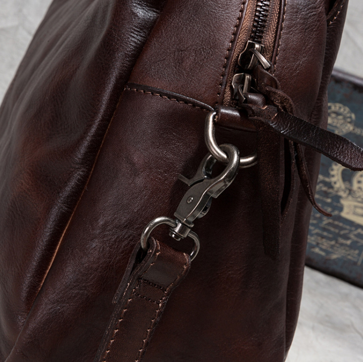 Vintage Leisure Men Genuine Leather Briefcase Unisex Shoulder Large Capacity Cowhide Bag Elegant Commuter Bags Outdoor Bag Z709
