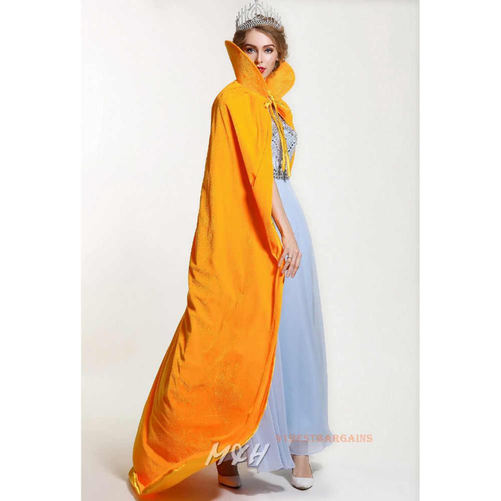 Jascaela Hooded Cloak Gold Velvet Cape Shawl Dress Up Costume Set for Party Cosplay Masquerade