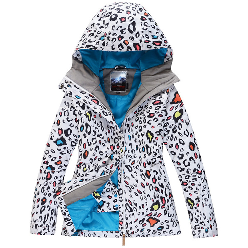 Woman Ski suit jackets Gsou Snow white Leopard High quality 10K waterproof windproof outdoor Snow coats winter warm Costumes running river brand winter thermal women ski down jacket 5 colors 5 sizes high quality warm woman outdoor sports jackets a6012