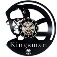 Kingsman Round Hollow CD Record Wall Clock The Secret Service Movie Vinyl LED Wall Clock Gift for Kids Creative Home Decor
