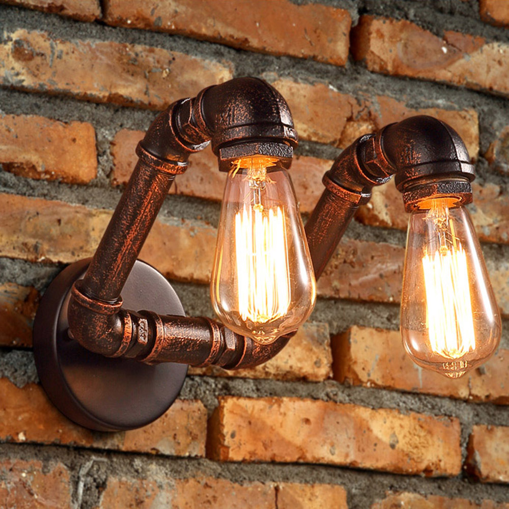 Antique Metal Tube Bar Counter Wall Light Stair Corridor American Country Rustic Balcony Wall Lamp Style Restaurant Wall Light