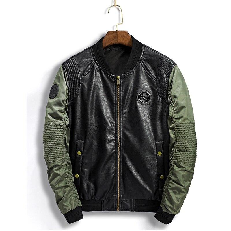 Haute qualité en cuir veste hommes 2019 nouvelle automne mode col montant PU moto vestes vert pilote de vol manteaux vestes hommes
