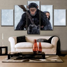 Modern Artwork Canvas Print 5 Piece Caesar Amiah Miller Poster Movie War for the Planet of Apes Painting Home Decor Wall Art