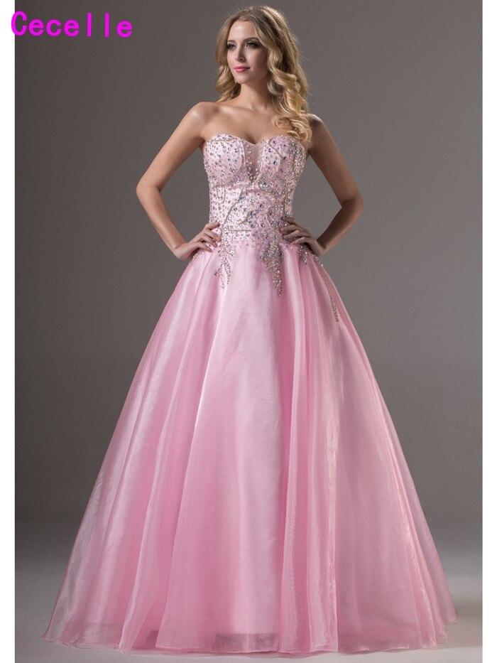 Étincelle longue robe de bal rose formelle robes de bal chérie perles cristaux princesse Senior robes de bal sur mesure vraies Photos